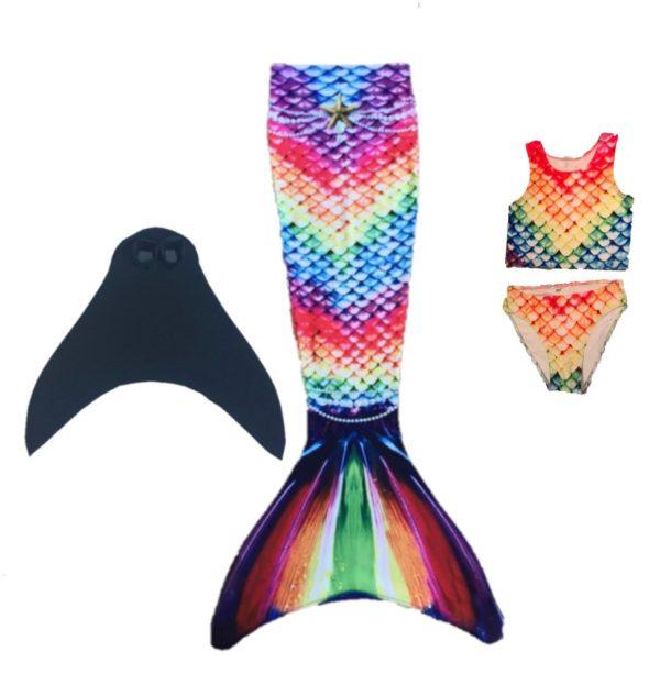 luxe zeemeerminstaart rainbow met bikini + monovin