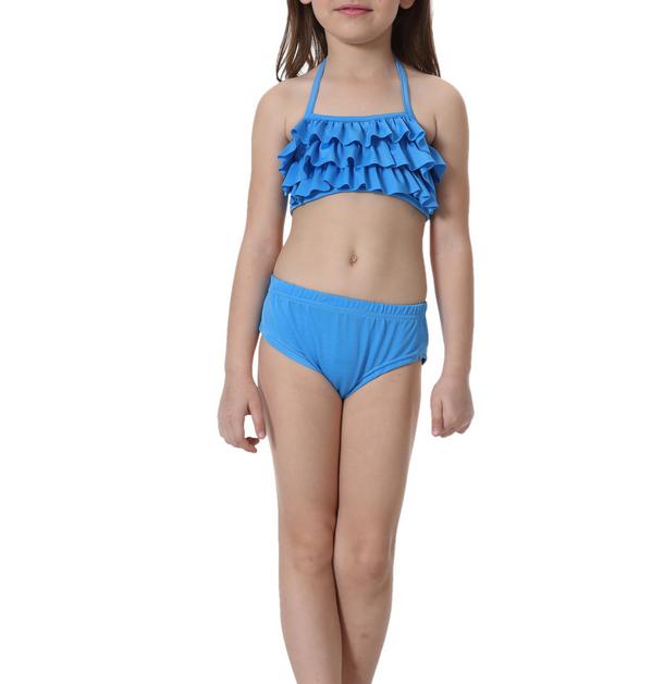 Meisjes bikini blauw met roeseltjes