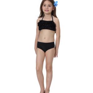Zwarte bikini met roeseltjes
