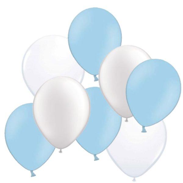 ballonnen blauw wit 50 stuks