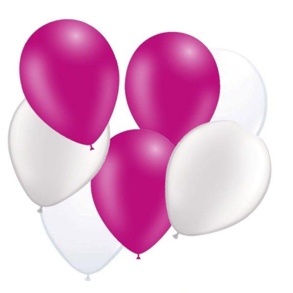 ballonnen fuchsia/wit 50 stuks