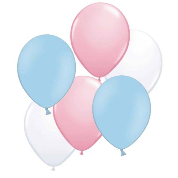 roze wit blauw ballonnen