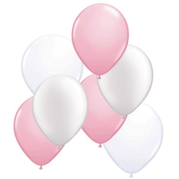 ballonnen roze/wit 50 stuks