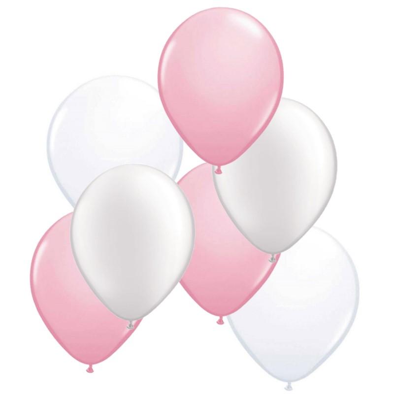 ballonnen roze/wit 50 stuks - monofun