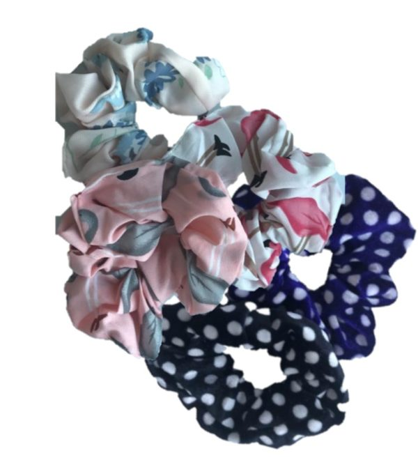 Scrunchies 4 flower, polkadot en flamingo