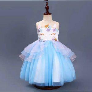 prinsessenjurk unicorn blauw