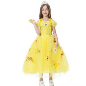 prinsessenjurk geel met vlinders