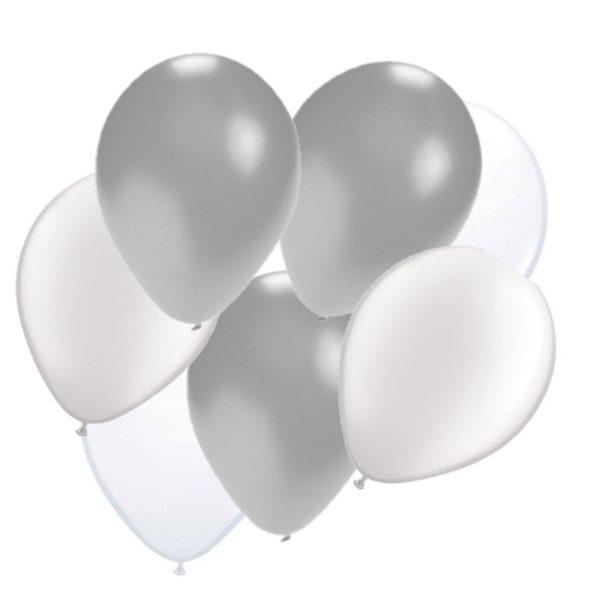 ballonnen zilver/wit 50 stuks